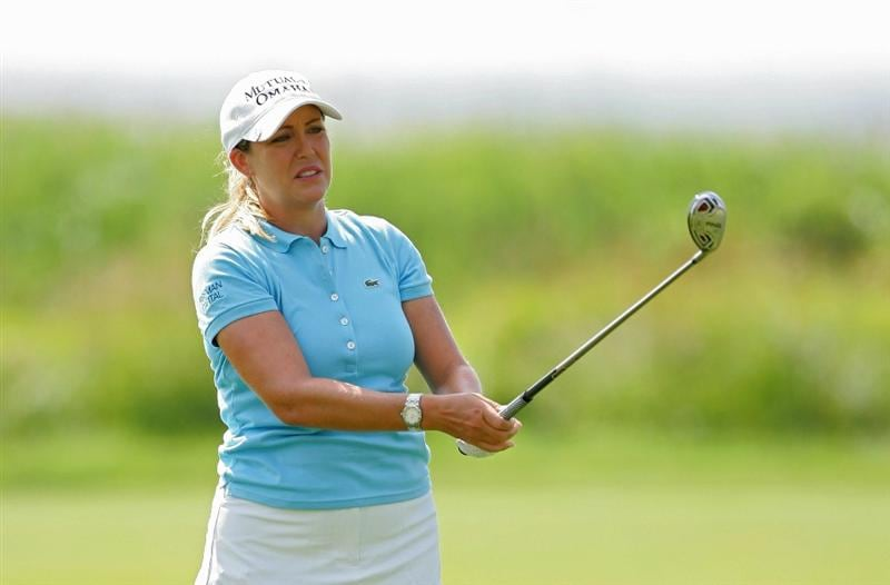 GALLOWAY, NJ - JUNE 18:   Cristie Kerr watches her shot during the second round of the ShopRite LPGA Classic held at Dolce Seaview Resort (Bay Course) on June 18, 2010 in Galloway, New Jersey.  (Photo by Michael Cohen/Getty Images)