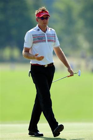 CHASKA, MN - AUGUST 14:  Ian Poulter walks on the 18th green during the second round of the 91st PGA Championship at Hazeltine National Golf Club on August 14, 2009 in Chaska, Minnesota.  (Photo by Stuart Franklin/Getty Images)