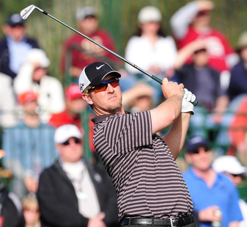 PEBBLE BEACH, CA - FEBRUARY 12:  David Duval plays a shot on the 17th hole during round two of the AT&T Pebble Beach National Pro-Am at Pebble Beach Golf Links on February 12, 2010 in Pebble Beach, California.  (Photo by Stuart Franklin/Getty Images)