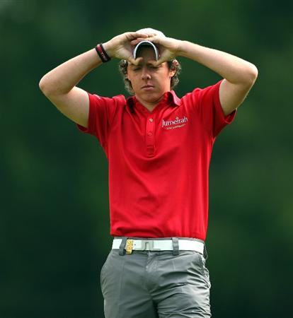 CRANS, SWITZERLAND - SEPTEMBER 07:  Rory McIlroy of Northern Ireland waits to play his second shot on the fourth hole during the final round of the Omega European Masters at Crans-Sur-Sierre Golf Club on September 7, 2008 in Crans Montana, Switzerland.  (Photo by Andrew Redington/Getty Images)