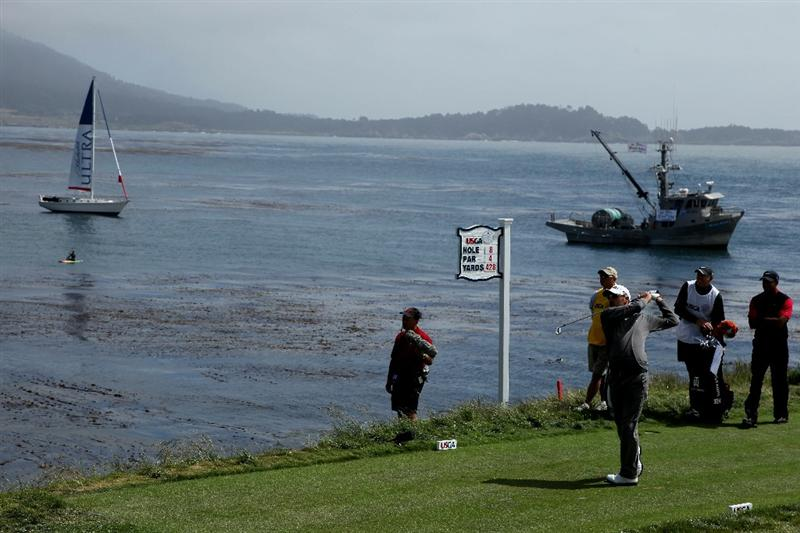 PEBBLE BEACH, CA - JUNE 20:  Gregory Havret of France watches his tee shot on the eighth hole during the final round of the 110th U.S. Open at Pebble Beach Golf Links on June 20, 2010 in Pebble Beach, California.  (Photo by Donald Miralle/Getty Images)