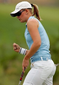 MORELIA, MEXICO - APRIL 27:  Linda Wessberg of Sweden celebrates a birdie putt on the third green during the second round of the Corona Championship April 27, 2007 at Tres Marias Club de Golf in Morelia, Michoacan, Mexico.  (Photo by Matthew Stockman/Getty Images)