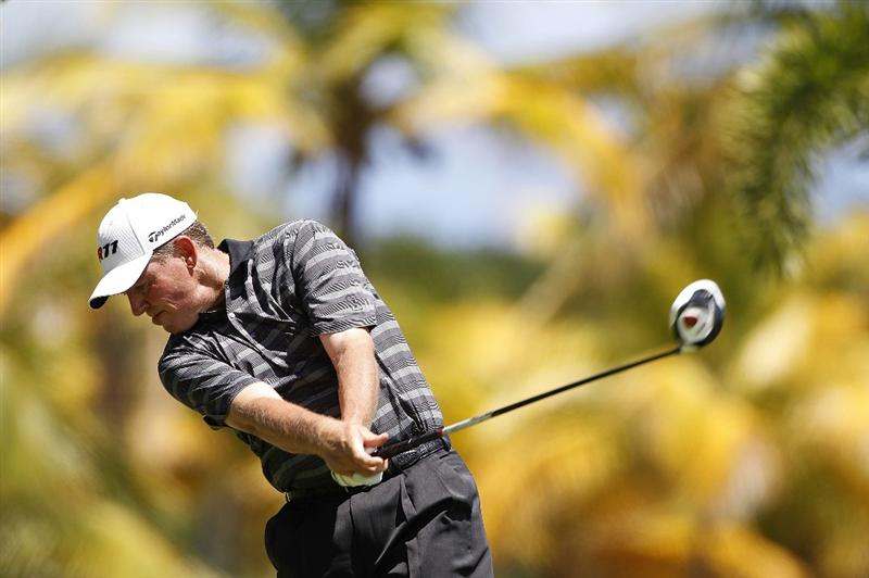 RIO GRANDE, PR - MARCH 13: Michael Bradley hits his drive on the second hole during the final round of the Puerto Rico Open presented by seepuertorico.com at Trump International Golf Club on March 13, 2011 in Rio Grande, Puerto Rico.  (Photo by Michael Cohen/Getty Images)