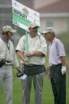 Ben Crenshaw jokes with volunteers during the first round of the Champions Tour Outback Steakhouse Pro-Am at the TPC at Tampa Bay in Lutz, FL