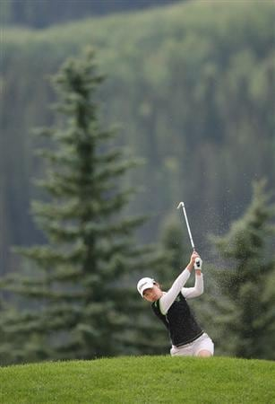 CALGARY, AB - SEPTEMBER 05 : Sun Young Yoo of South Korea hits her second shot on the fourth hole during the third round of the Canadian Women's Open at Priddis Greens Golf & Country Club on September 5, 2009 in Calgary, Alberta, Canada. (Photo by Hunter Martin/Getty Images)