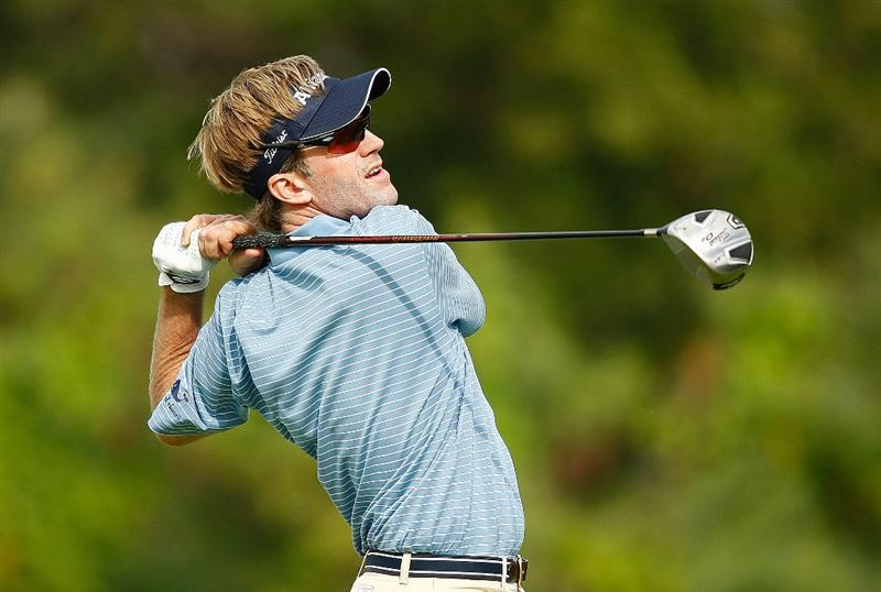 RIO GRANDE, PR - MARCH 15:  Brett Quigley hits a tee shot on the 18th hole during the final round of the 2009 Puerto Rico Open presented by Banco Popular at the Trump International Golf Club on March 15, 2009 in Rio Grande, Puerto Rico.  (Photo by Mike Ehrmann/Getty Images)