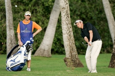 Jeff Overton chips onto the sixth green during the second round of the Sony Open in Hawaii held at Waialae Country Club on January 11, 2008 in Honolulu, Hawaii. PGA TOUR - 2008 Sony Open in Hawaii - Second RoundPhoto by Stan Badz/PGA TOUR/WireImage.com