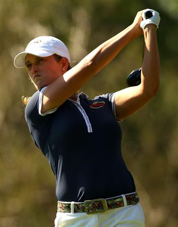 MELBOURNE, AUSTRALIA - MARCH 12:  Giulia Sergas of Italy plays her tee shot on the fifth hole during round two of the 2010 Women's Australian Open at The Commonwealth Golf Club on March 12, 2010 in Melbourne, Australia.  (Photo by Mark Dadswell/Getty Images)