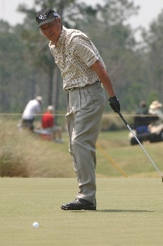 Isao Aoki looks for a birdie on the fourth  hole during the opening round of the 2005 Blue Angels Class  May 13 in Milton, Fl.Photo by Al Messerschmidt/WireImage.com