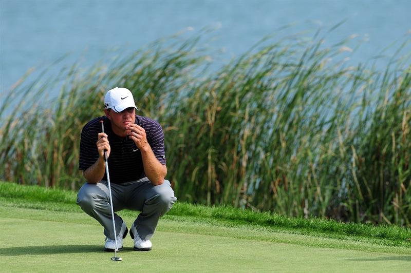 CHASKA, MN - AUGUST 14:  Lucas Glover lines up a putt on the 16th hole during the second round of the 91st PGA Championship at Hazeltine National Golf Club on August 14, 2009 in Chaska, Minnesota.  (Photo by Stuart Franklin/Getty Images)