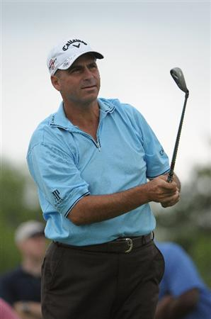 SAN ANTONIO, TX- MAY 13:  Rocco Mediate tees off the par three 3rd hole during the first round of the Valero Texas Open at the TPC San Antonio on May 13, 2010 in San Antonio, Texas. (Photo by Marc Feldman/Getty Images)