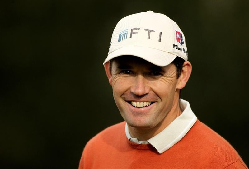PEBBLE BEACH, CA - FEBRUARY 11:  Padraig Harrington of Ireland smiles during the first round of the AT&T Pebble Beach National Pro-Am at at the Spyglass Hill Golf Course on February 11, 2010 in Pebble Beach, California.  (Photo by Ezra Shaw/Getty Images)