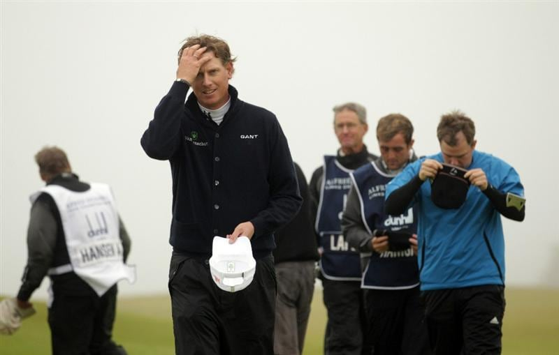 KINGSBARNS, SCOTLAND - OCTOBER 08:  Maarten Lafeber of The Netherlands looks dejected as he walks on the ninth hole during the second round of The Alfred Dunhill Links Championship at Kingsbarns Golf Links on October 8, 2010 in Kingsbarns, Scotland.  (Photo by Andrew Redington/Getty Images)