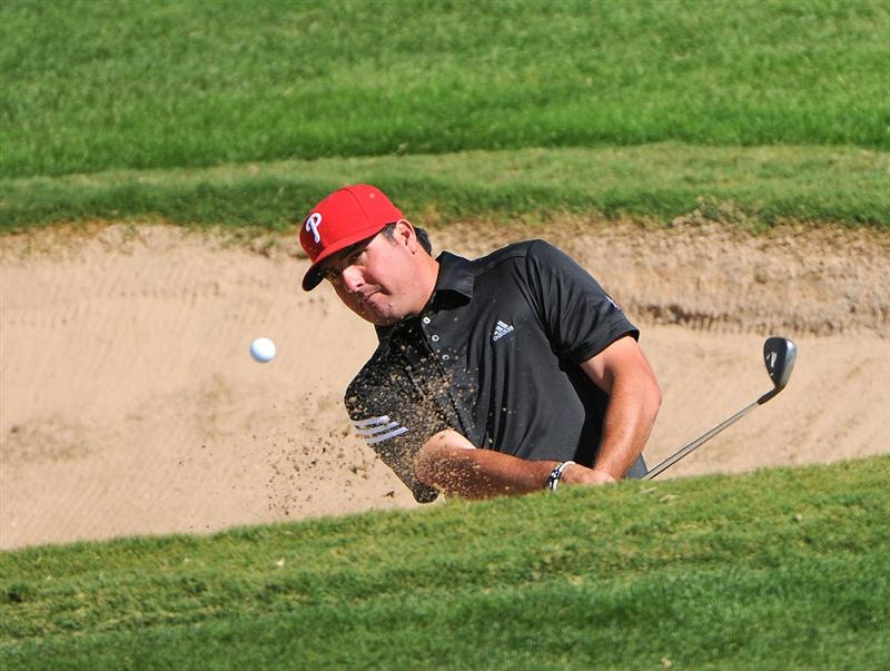 SCOTTSDALE, AZ - OCTOBER 23:  Pat Perez hits out of the greenside bunker on the 15th hole during the first round of  the Frys.com Open held at Grayhawk Golf Club  on Thursday, October 23, 2008 in Scottsdale, Arizona. (Photo by Marc Feldman/Getty Images)