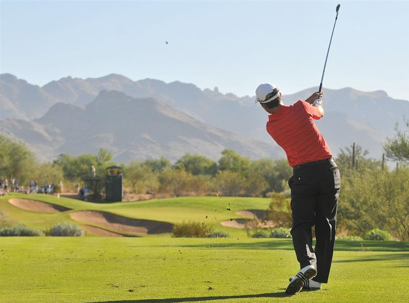 SCOTTSDALE, AZ - OCTOBER 24:  Mike Weir  hits his tee shot to the 8th  hole during the second round of  the Fry's.Com Open held at Grayhawk Golf Club on October 24, 2008 in Scottsdale, Arizona.(Photo by Marc Feldman/Getty Images)