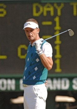 Jesper Parnevik misses a birdie putt on the third hole during the first round on the Copperhead Course of the 2005 Chrysler Championship October 27 in Palm Harbor, Florida.  Parnevik shot a 68.Photo by Al Messerschmidt/WireImage.com