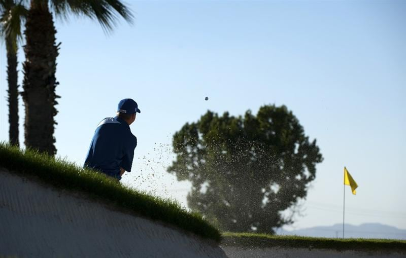 SAN JACINTO, CA - OCTOBER 03: Craig Bowden makes a shot out of the bunker on the 15th hole during the third round of the 2009 Soboba Classic at The Country Club at Soboba Springs on October 3, 2009 in San Jacinto, California.  (Photo by Robert Laberge/Getty Images)