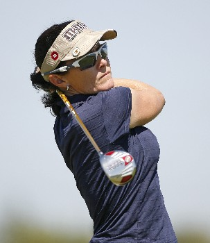 SPRINGFIELD, IL - SEPTEMBER 2:   Rachel Hetherington of Australia hits her tee shot on the 15th hole during the final round of the State Farm Classic at Panther Creek Country Club on September 2, 2007 in Springfield, Illinois. (Photo by Hunter Martin/Getty Images)