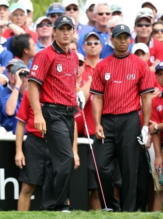 ORLANDO, FL - MARCH 17:  Charles Howell III and teammate Tiger Woods of the U.S. and the Isleworth Team look on at the eighth hole during the second day of the 2009 Tavistock Cup at the Lake Nona Golf and Country Club, on March 17, 2009 in Orlando, Florida  (Photo by David Cannon/Getty Images)