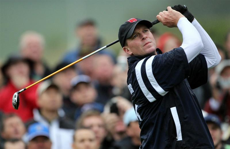 NEWPORT, WALES - SEPTEMBER 29:  Steve Stricker of the USA hits a shot during a practice round prior to the 2010 Ryder Cup at the Celtic Manor Resort on September 29, 2010 in Newport, Wales.  (Photo by Jamie Squire/Getty Images)