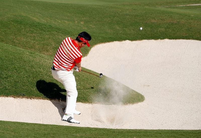 SOUTHAMPTON, BERMUDA - OCTOBER 21:  Y.E. Yang the 2009 PGA championship winner, hits his second shot on the 2nd hole during the final round of the PGA Grand Slam of Golf on October 21, 2009 at Port Royal Golf Course in Southampton, Bermuda.  (Photo by Andy Lyons/Getty Images)