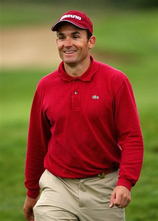 CRANS, SWITZERLAND - SEPTEMBER 04:  Ignacio Garrido of Spain smiles on the 18th hole during the first round of the Omega European Masters at Crans-Sur-Sierre Golf Club on September 4, 2008 in Crans Montana, Switzerland.  (Photo by Andrew Redington/Getty Images)
