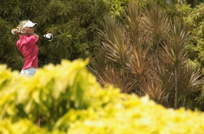 SINGAPORE - FEBRUARY 27:  Jessica Korda of the USA hits her tee shot on the 15th hole during the final round of the HSBC Women's Champions 2011 at the Tanah Merah Country Club on February 27, 2011 in Singapore, Singapore.  (Photo by Scott Halleran/Getty Images)
