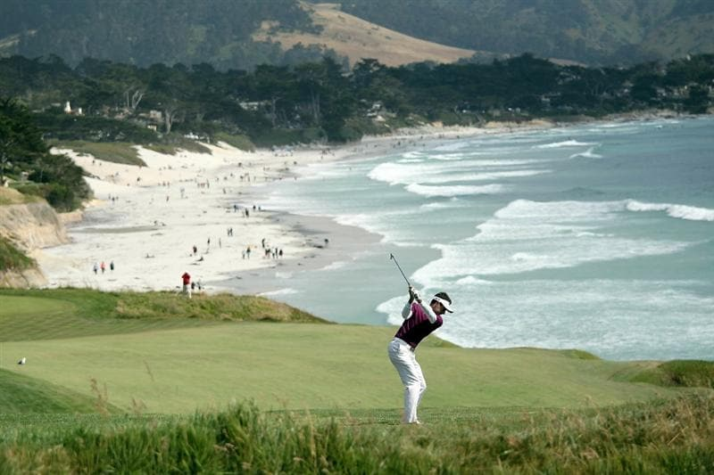 PEBBLE BEACH, CA - JUNE 19:  Gregory Havret hits a shot on the tenth hole during the third round of the 110th U.S. Open at Pebble Beach Golf Links on June 19, 2010 in Pebble Beach, California.  (Photo by Andrew Redington/Getty Images)