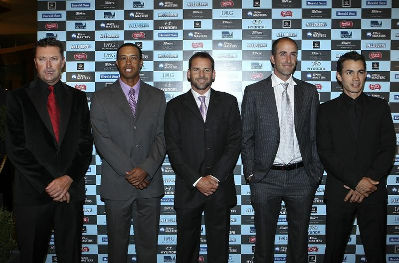 MELBOURNE, AUSTRALIA - NOVEMBER 09:  Robert Allenby, Tiger Woods,Sergio Garcia, Geoff Ogilvy and Camilo Villegas arrives at Crown's Australian Masters Gala Dinner at Crown Palladium on November 9, 2010 in Melbourne, Australia.  (Photo by Lucas Dawson/Getty Images)