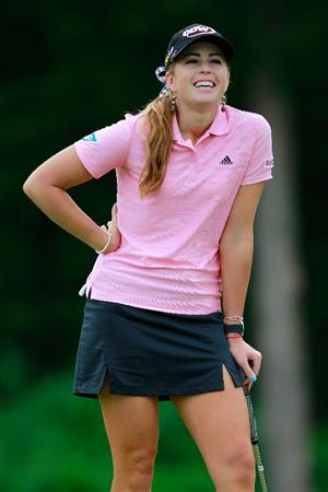 GLADSTONE, NJ - MAY 20: Paula Creamer reacts after putting on the seventeenth hole during her match against Karrie Webb of Australia in round two of the Sybase Match Play Championship at Hamilton Farm Golf Club on May 20, 2011 in Gladstone, New Jersey. (Photo by Chris Trotman/Getty Images)