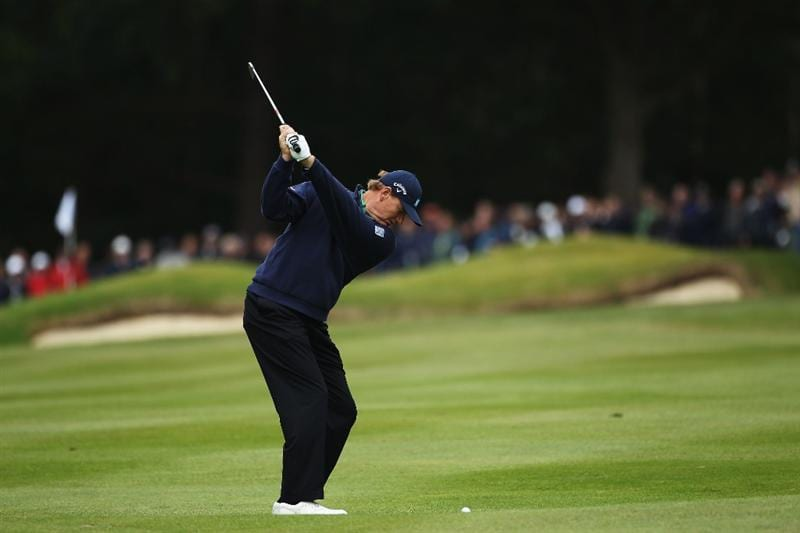 VIRGINIA WATER, ENGLAND - MAY 27:  Ernie Els of South Africa hits his 2nd shot on the 5th hole during the second round of the BMW PGA Championship at the Wentworth Club on May 27, 2011 in Virginia Water, England.  (Photo by Warren Little/Getty Images)