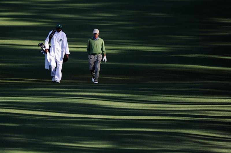 AUGUSTA, GA - APRIL 09:  Ben Crenshaw walks with his caddie Carl Jackson during the second round of the 2010 Masters Tournament at Augusta National Golf Club on April 9, 2010 in Augusta, Georgia.  (Photo by Harry How/Getty Images)