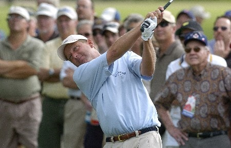 Mark Brooks hits out of the rought on the 12th hole during the first round of the Bank Of America Colonial Invitational at Colonial Country Club, on Thursday May 18, 2005 in Fort Worth, TexasPhoto by Marc Feldman/WireImage.com