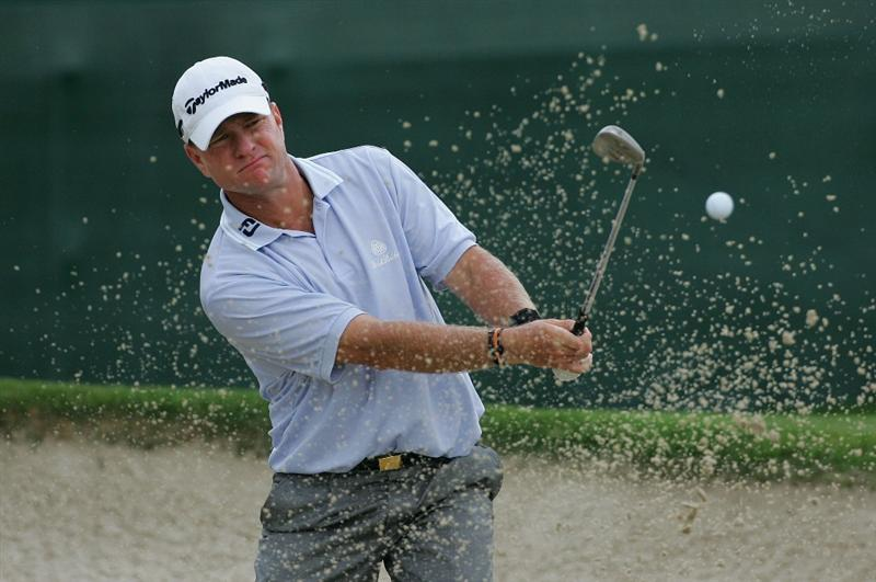 MEMPHIS, TN - JUNE 11:  Scott Verplank of the United States plays a bunker shot during the first round of the St. Jude Classic at TPC Southwind held on June 11, 2009 in Memphis, Tennessee.  (Photo by Michael Cohen/Getty Images)