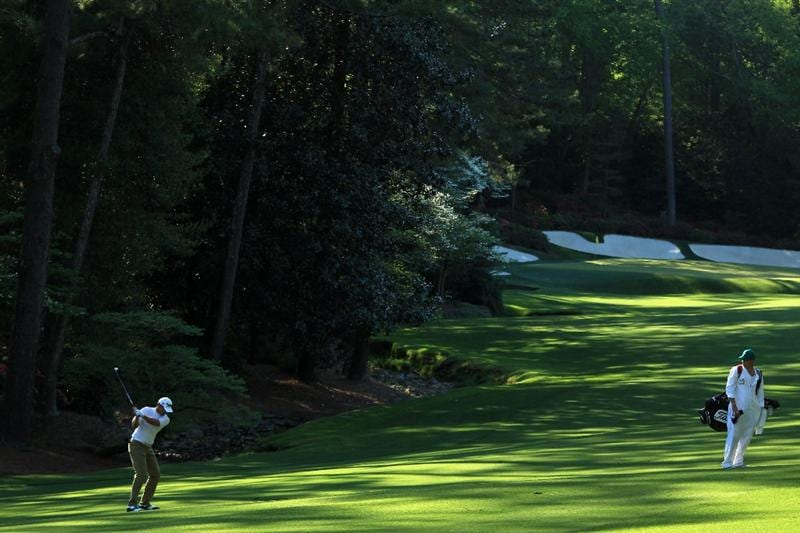 AUGUSTA, GA - APRIL 09:  Robert Karlsson of Sweden hits his second shot on the 13th hole during the second round of the 2010 Masters Tournament at Augusta National Golf Club on April 9, 2010 in Augusta, Georgia.  (Photo by David Cannon/Getty Images)