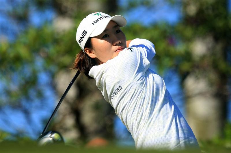 WEST PALM BEACH, FL - NOVEMBER 20:  In-Kyung Kim of South Korea hits her tee shot on the first hole during the first round of the ADT Championship at the Trump International Golf Club on November 20, 2008 in West Palm Beach, Florida.  (Photo by Scott Halleran/Getty Images)