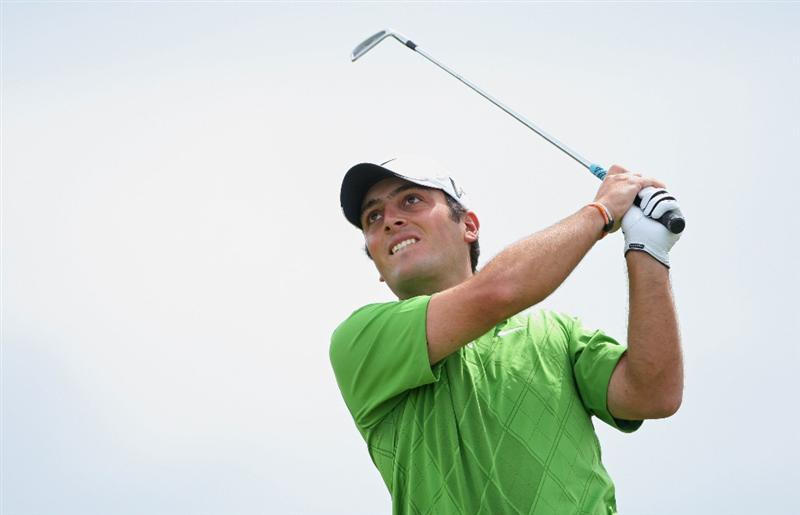 TURNBERRY, SCOTLAND - JULY 18:  Francesco Molinari  of Italy hits an approach shot during round three of the 138th Open Championship on the Ailsa Course, Turnberry Golf Club on July 18, 2009 in Turnberry, Scotland.  (Photo by Andrew Redington/Getty Images)
