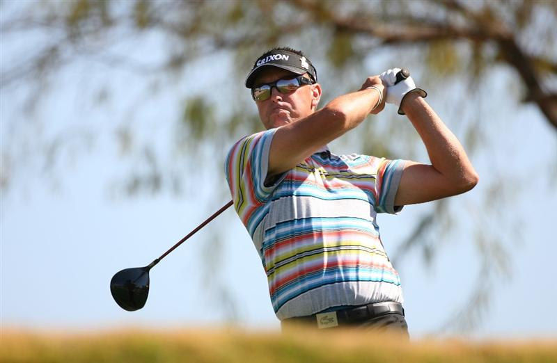 SCOTTSDALE, AZ - FEBRUARY 25: Robert Allenby of Australia hits his tee shot on the 3rd hole during the first round of the Waste Management Phoenix Open at TPC Scottsdale on February 25, 2010 in Scottsdale, Arizona. (Photo by Hunter Martin/Getty Images)
