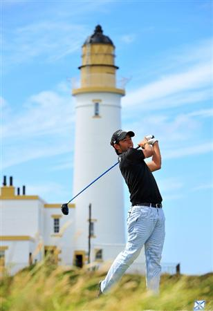 TURNBERRY, SCOTLAND - JULY 13:  Pablo Larrazabal of Spain on the 10th tee during the practice round of the 138th Open Championship on July 13, 2009 on the Ailsa Course, Turnberry Golf Club, Turnberry, Scotland.  (Photo by Stuart Franklin/Getty Images)