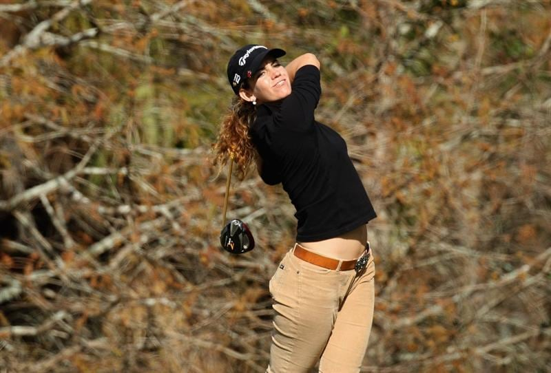 DAYTONA BEACH, FL - DECEMBER 04:  Emma Cabrera-Bello of Spain hits her tee shot at the 18th hole during the second round of the LPGA Qualifying School held at the LPGA International  on the Champions Course on December 4, 2008 in Daytona Beach, Florida. (Photo by David Cannon/Getty Images)