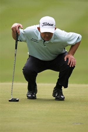 MILWAUKEE - JULY 17: Greg Chalmers lines up a putt on the 18th green during the second round of the U.S. Bank Championship on July 17, 2009 at the Brown Deer Park golf course in Milwaukee, Wisconsin. (Photo by Jonathan Daniel/Getty Images)