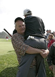 Bill Murray carries Jeff Sluman to the next tee during the third round of the  AT&T Pebble Beach National Pro-Am on Pebble Beach Golf Links in Pebble Beach, California on February 11, 2006.