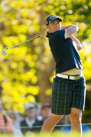 DANVILLE, CA - OCTOBER 15: Katherine Hull of Australia follows through on a tee shot during the second round of the CVS/Pharmacy LPGA Challenge at Blackhawk Country Club on October 15, 2010 in Danville, California. (Photo by Darren Carroll/Getty Images)
