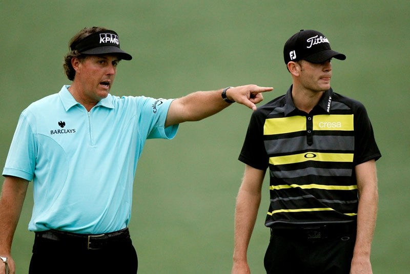 Phil Mickelson (L) and Brendan Steele