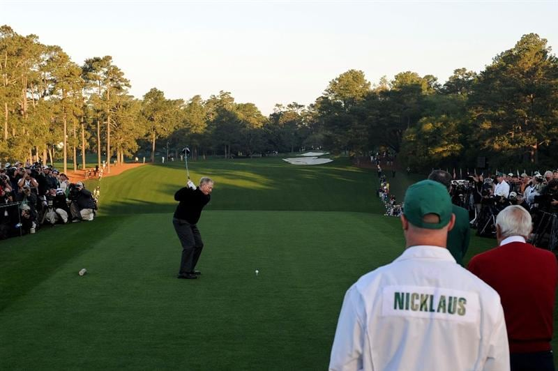 AUGUSTA, GA - APRIL 07:  Jack Nicklaus hits the ceremonial first tee shot to start the first round of the 2011 Masters Tournament at Augusta National Golf Club on April 7, 2011 in Augusta, Georgia.  (Photo by Harry How/Getty Images)