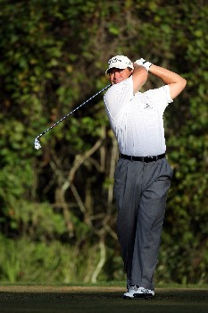 LAKE BUENA VISTA, FL - NOVEMBER 02:  Jay Williamson tees off at the 12th hole on the Palm Course during the second round of The Childrens Miracle Network Classic held on the Palm and Magnolia Courses at The Disney Shades of Green Resort, on November 2, 2007 in Lake Buena Vista, Florida.  (Photo by David Cannon/Getty Images)