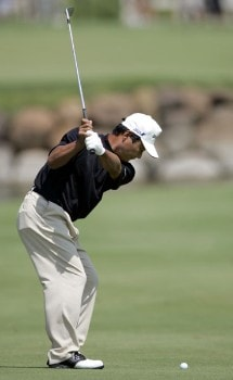 Hajime Meshiai hits his second shot on the third second hole during the final round of the 3M Championship, August 7, 2005, held at the TPC of the Twin Cities, Blaine, Minnesota. Photo by Gregory Shamus/WireImage.com