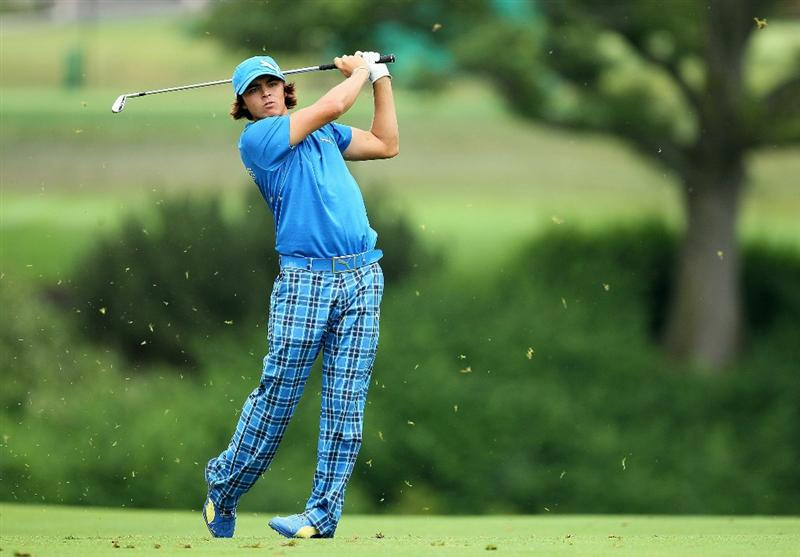 DUBLIN, OH - JUNE 05:  Rickie Fowler hits his second shot on the 10th hole during the third round of The Memorial Tournament presented by Morgan Stanley at Muirfield Village Golf Club on June 5, 2010 in Dublin, Ohio.  (Photo by Andy Lyons/Getty Images)