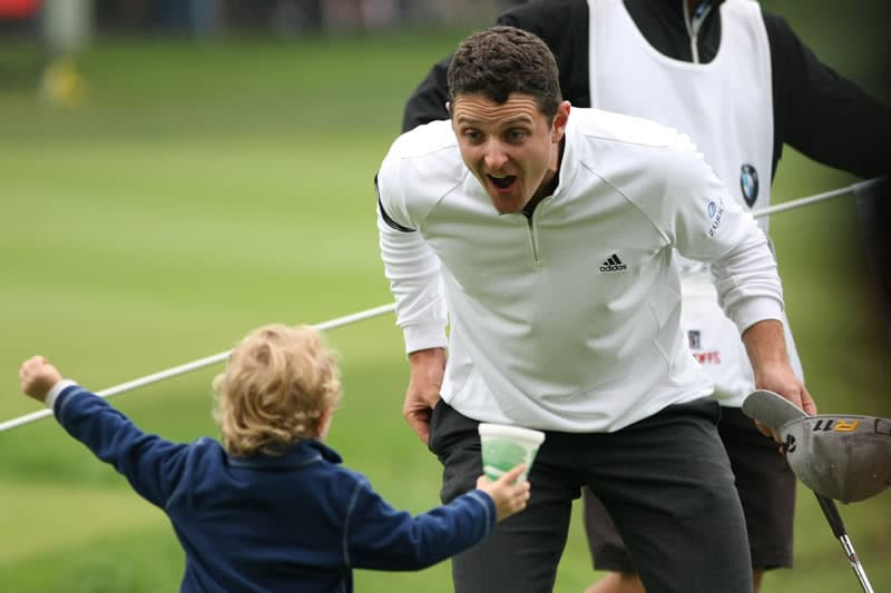 Justin Rose and son Leo