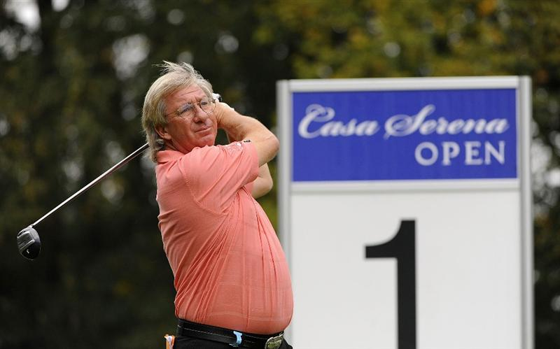 PRAGUE, CZECH REPUBLIC - SEPTEMBER 20:  Peter Mitchell of England in action during the final round of the Casa Serena Open played at Casa Serena Golf on September 20, 2009 in Prague, Czech Republic.  (Photo by Phil Inglis/Getty Images)
